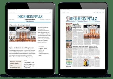 RHEINPFALZ App, moderne und klassische Ansicht